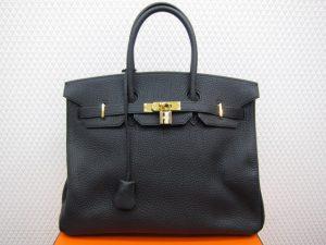 エルメス バーキン35cm フィヨルド 黒 ゴールド金具 買取りいたしました。神戸三宮高価買取ブランドラボ