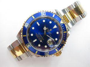 ロレックスサブマリーナコンビ16613青サブルーレット刻印本体のみ買取りいたしました。