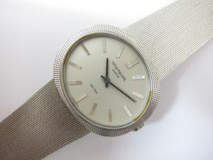 パテック・フィリップBEYERバイヤーWネーム時計メンズホワイトゴールド買取いたしました。