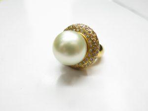 K18金パールダイヤリング買取りいたしました。高価買取なら大阪神戸のブランドラボ