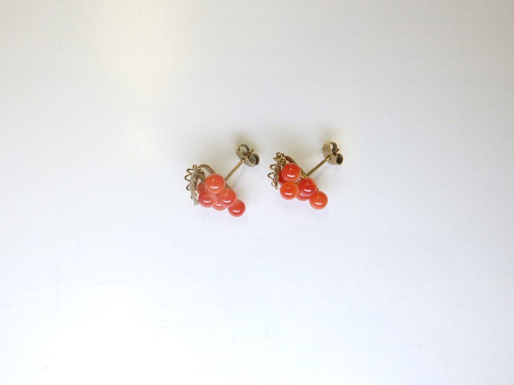 金買取  K14金珊瑚ピアス 大阪神戸 デザインアクセサリー 珊瑚