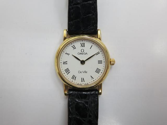 オメガ デビル買取 K18×革 電池切れ レディース時計 高価買取