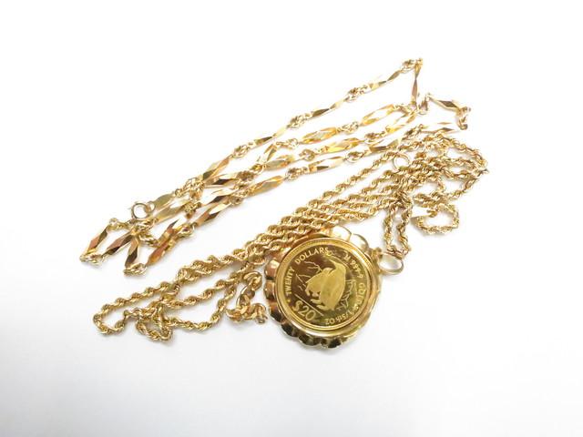 K18・K24金ネックレスやコインや枠 総重量40.6g買取いたしました。