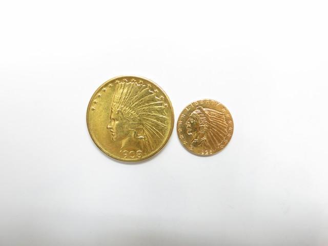 K21.6金インディアンコイン10ドル&2.5ドル総重量20.8g買取いたしました。