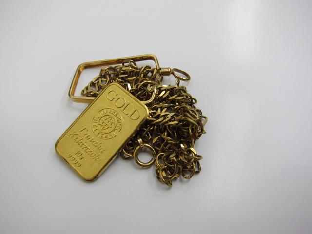 K24金インゴット10g&K18金ネックレス16g買い取らせていただきました。
