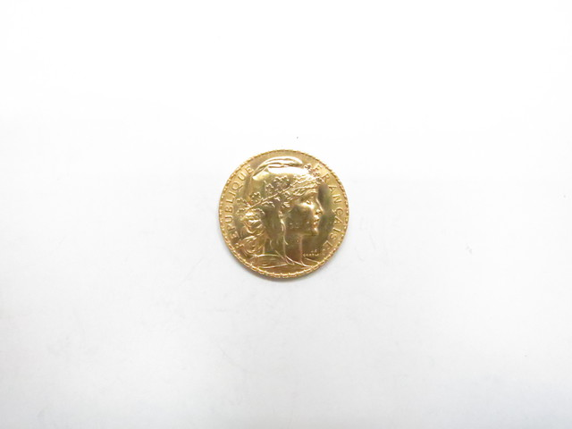 K21.6金20フラン金貨 少女横顔柄6.4g 買取いたしました。