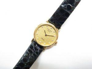 ウォルサム K18金無垢/革ベルト レディース時計 12ポイントダイヤ 電池切れ 買取いたしました。