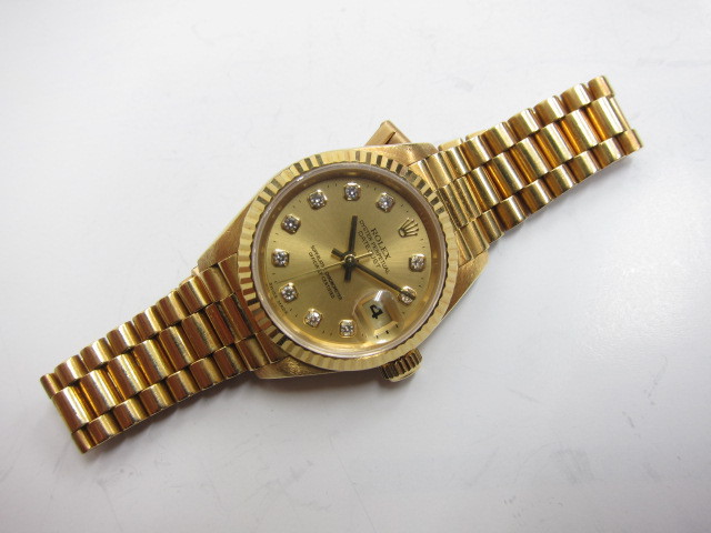 ロレックス 金無垢デイトジャストレディース10Pダイヤ ref69178G W番買取りいたしました。