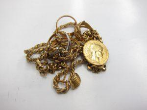 K18金ネックレス・リング&K21.6金メダル総グラム38g買取りいたしました。