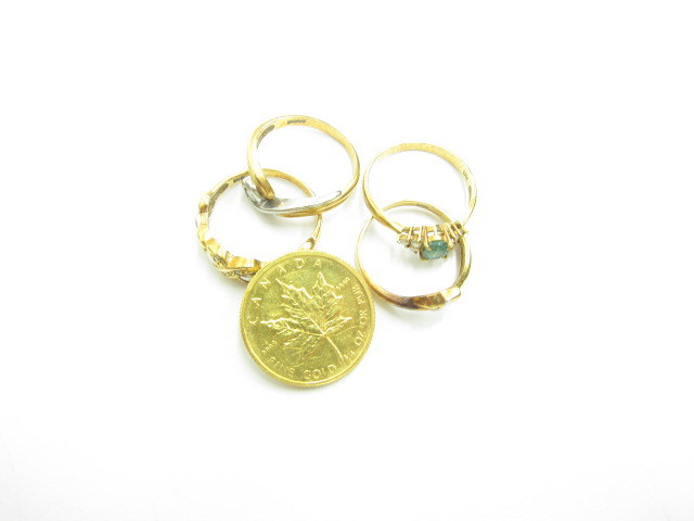 K24金メイプルリーフ金貨&K18金リング総重量12.3g買取いたしました。