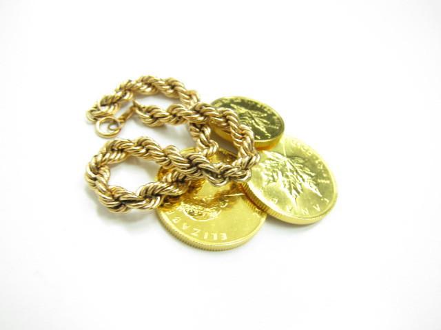 K24金メープルコインエリザベスコイン&K18金スネーク調ブレスレット総重量43.7g買取いたしました。