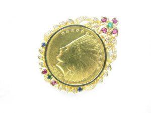 K21.6金インディアンコイン10ドル金貨K18金ペンダント枠マルチカラーストーン総重量26.2g買取いたしました。