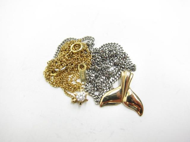 K18金K14金プラチナPt850ダイヤモンド0.2カラットネックレスやハワイアンジュエリートップ総重量14.2g買取いたしました。