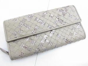 ボッテガ・ヴェネタ イントレチャート長財布 ナッパ/フェイクパイソン 買取いたしました。