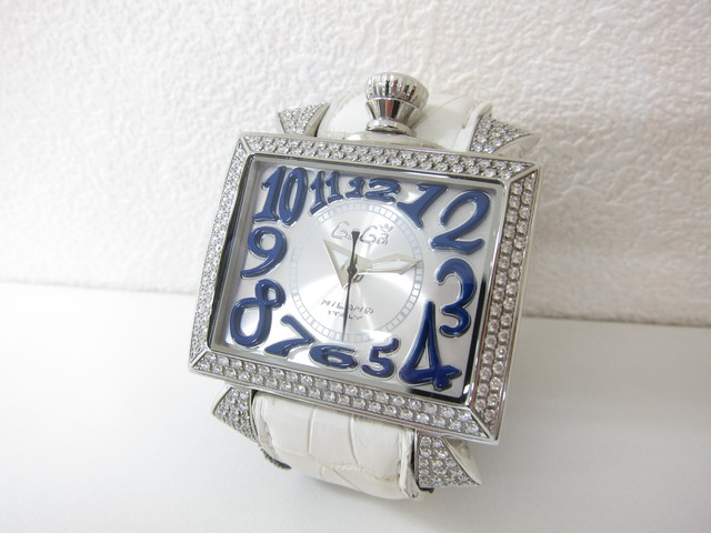 ガガ・ミラノ風防傷有りナポレオン48mmステンレス×革×オートマティック×ダイヤモンド本体のみ買取いたしました。