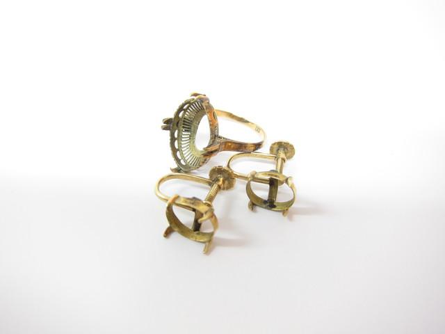 K18金&K14金石外れリングやイヤリング総重量5.4g買取いたしました。