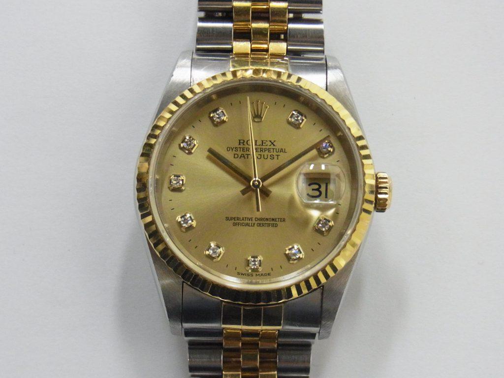 ロレックス 16233G デイトジャスト 10Pダイヤモンド 大阪神戸高価買取