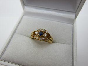 サファイヤリング k18金 メレダイヤ 手数料なし業者価格高価買取 大阪神戸