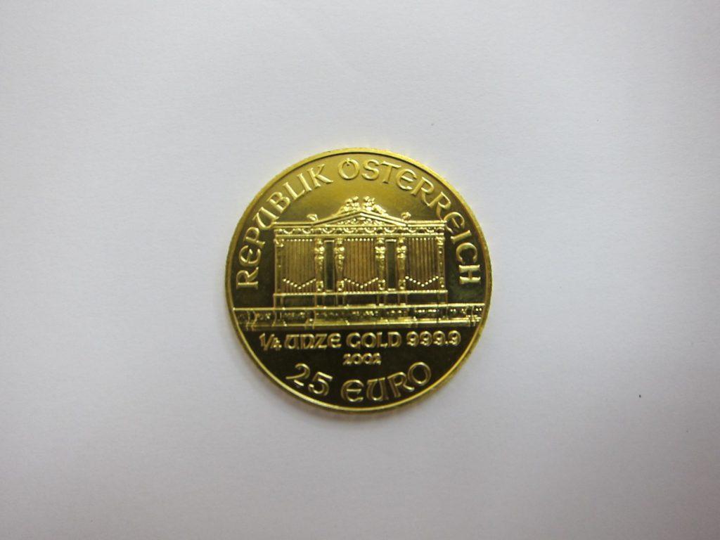 オーストリア ウィーン金貨 1/4オンス 純金コイン 買取 大阪 神戸