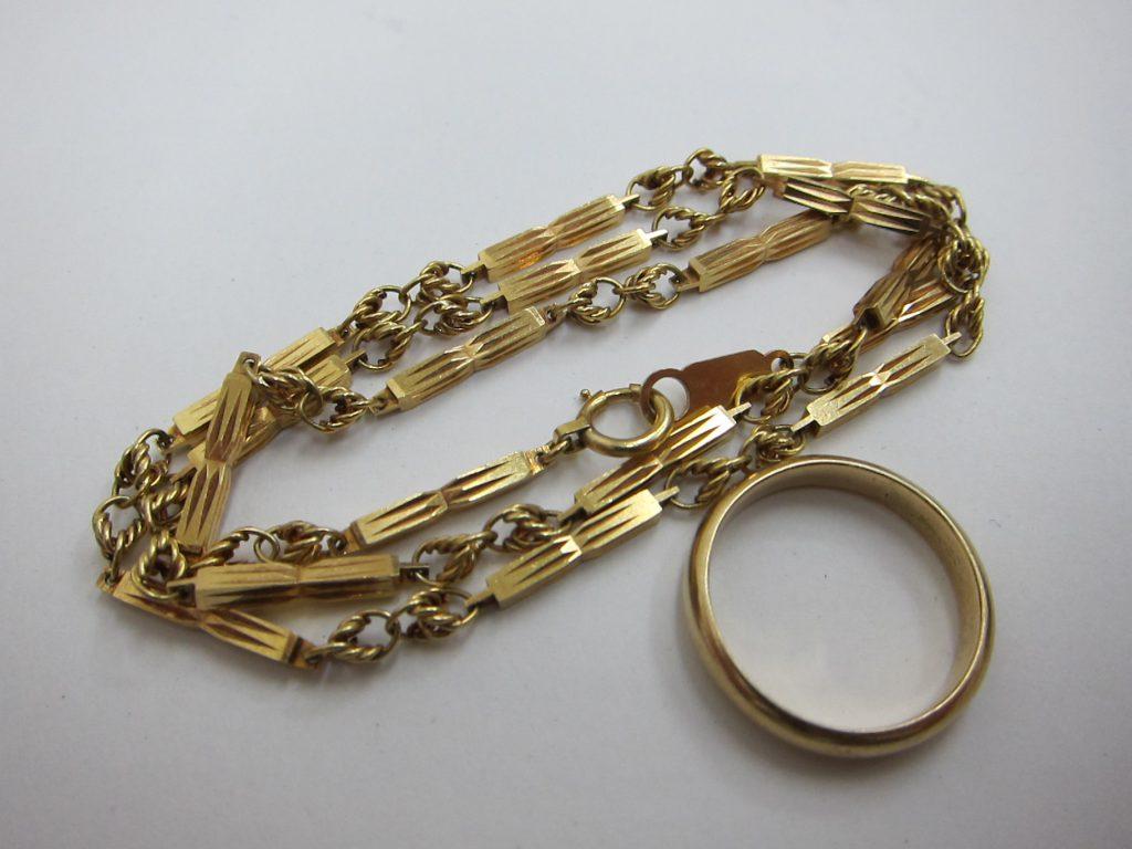 古いデザインネックレス リングK18 金切子ネックレス 買取 大阪神戸