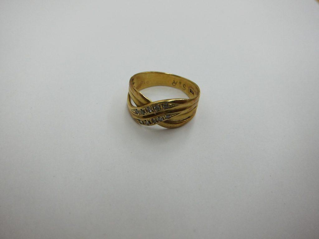 金リングk18金 メレダイヤモンド デザインが古いジュエリー 買取 大阪神戸