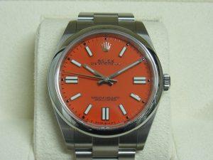 ロレックス 買取 124300 コーラルレッド 41mm カラーダイアル