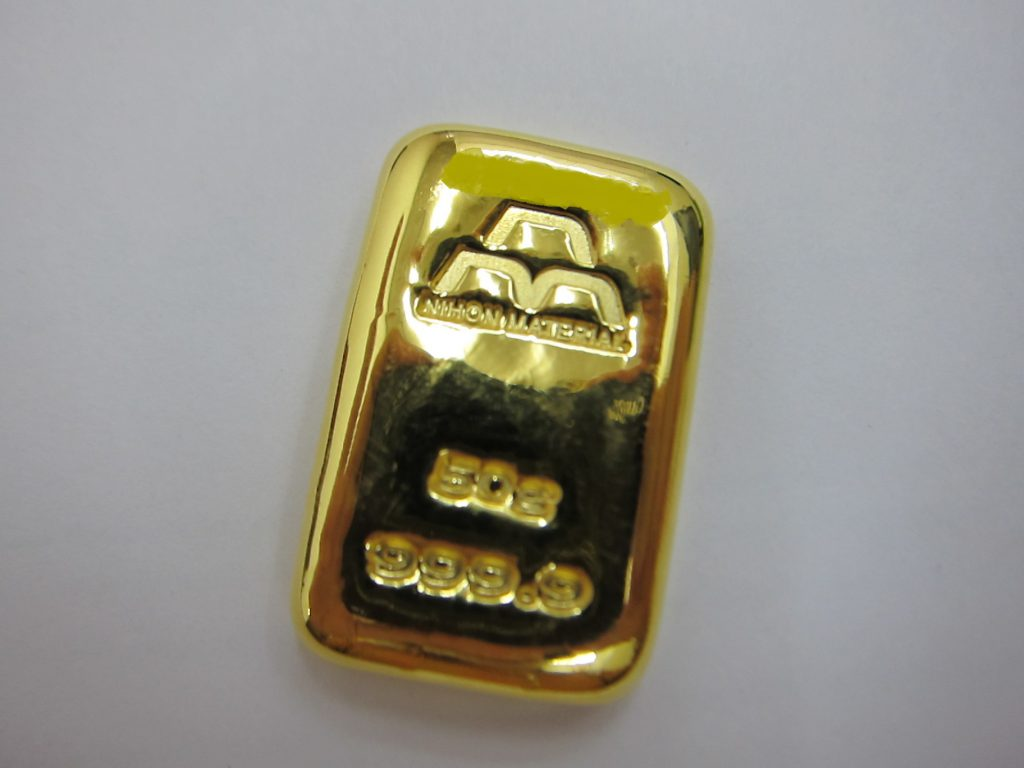 日本マテリアル 純金999.9 インゴットバー 50g 買取