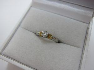 k18金 pt850プラチナコンビ ダイヤモンドリング 買取
